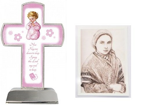 Baptism-Gifts-Silver-Plated-Pink-Cross-6-Lourdes-Prayer-Card-Baby-Gifts