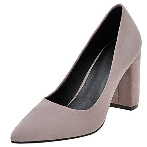 COOLCEPT Femme Mode A Enfiler Bout Pointue Bloc Talon Haut Chaussures Escarpins Bas SU LT violet