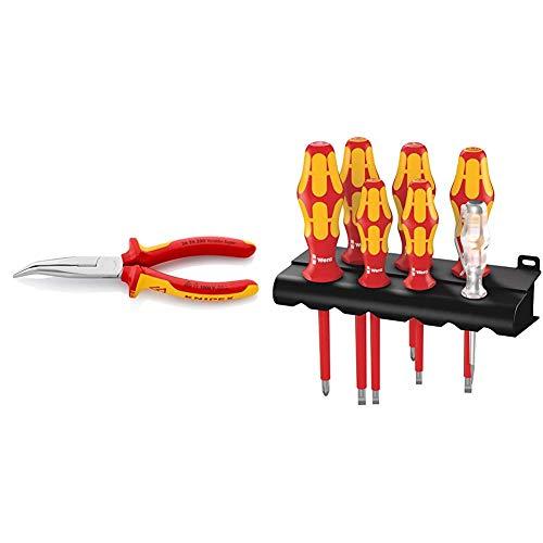 Knipex-serie (Knipex 26 26 200 - Flachrundzange mit Schneide, VDE-geprüft & Wera 160 i/7 Rack Schraubendrehersatz Kraftform Plus Serie 100 + Spannungsprüfer + Rack, 7-teilig, 05006147001)
