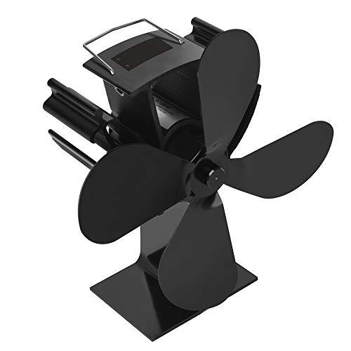 Promisehero - ventola termomodinamica a 4 lame, per stufa a caldo che aggiunge l'80% di aria calda a 3 lame, con display della temperatura per bruciatore a legna e camino