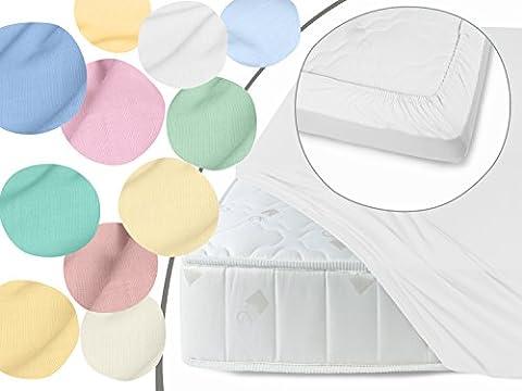 Gewebtes Eck-Spannbettlaken in 11 frischen Pastell-Farben und in 4 verschiedenen Größen erhältlich, 100% Baumwolle, 90 x 200 cm,