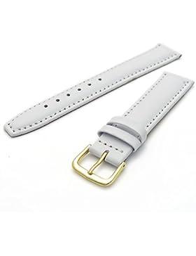 Glattes gepolstertes Ersatz-Uhrenarmband, Leder 18mm, weiß, mit vergoldeter (Gold Farbe) Schnalle.