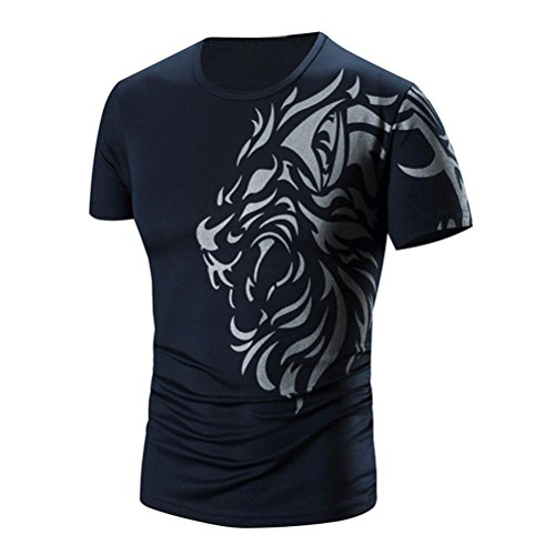 Tefamore Hommes Été Impression de Mode Hommes à Manches Courtes T-Shirt (XL, Noir)