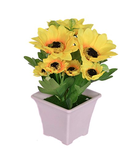 Pindia Artificial Yellow Flower Plant with Pot for Home and Office Decor (8x8x16, cms)  available at amazon for Rs.230