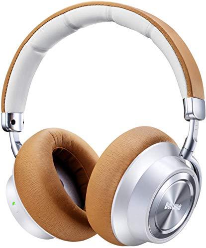 Active Noise Cancelling Bluetooth Kopfhörer, Boltune Hybrid Bluetooth 5.0 Over-Ear Funkkopfhörer ANC Wireless Headphones mit CVC 6.0 Geräuschunterdrückend Mikrofon 30 Std Spielzeit, Weiß-Braun