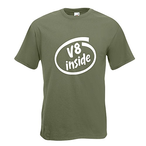 KIWISTAR - V8 inside T-Shirt in 15 verschiedenen Farben - Herren Funshirt bedruckt Design Sprüche Spruch Motive Oberteil Baumwolle Print Größe S M L XL XXL Olive