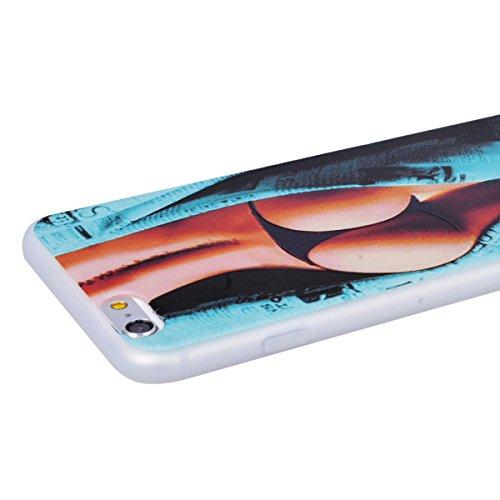 WE LOVE CASE iPhone 6 / 6s Hülle 3D Scheuern Entlastung Wolf iPhone 6 / 6s Hülle Silikon Weich Weiß Handyhülle Tasche für Mädchen Elegant Backcover , Soft TPU Flexibel Case Handycover Stoßfest Bumper  Sexy Girls