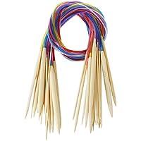 SODIAL(R)18 formati Ferri da maglia circolari di bambu' Set con tubo colorato 2,0 mm - 10,0 mm 80 centimetri