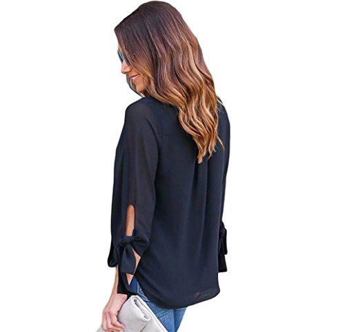 PU&PU Damen V-Ausschnitt 3/4-Arm Bluse Elegant Bowknot T-shirt Top BLACK-S