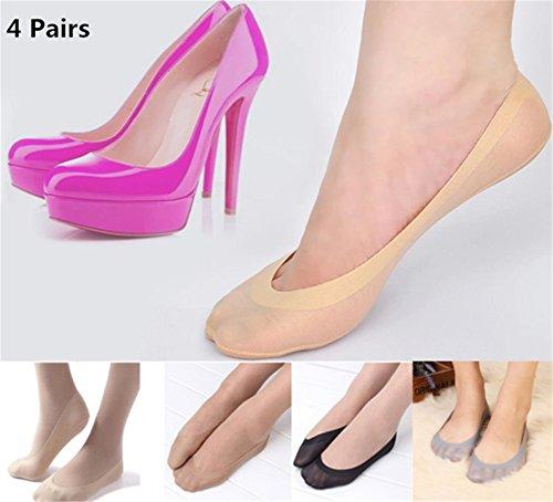 Interesting® 4 Paar Frauen rutschfeste Gleitschutz Liner No Show Peds Low Cut Unsichtbare Socken - Ped Socken