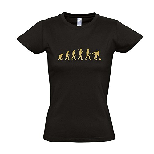 Damen T-Shirt - EVOLUTION - Bowling Sport FUN KULT SHIRT S-XXL , Deep black - gold , XXL