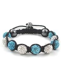 09-Ball Light Blue & White Shamballa Bracelet with strings
