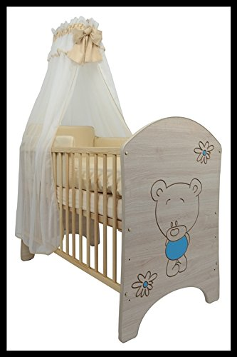 5 PCS BABY NURSERY FURNITURE SET - COT + MATTRESS + WARDROBE + CHEST OF DRAWERS + TOY BOX (model 3)  Included: cot + mattress + wardrobe + chest of drawers + toy box Material: wood GREAT QUALITY 4