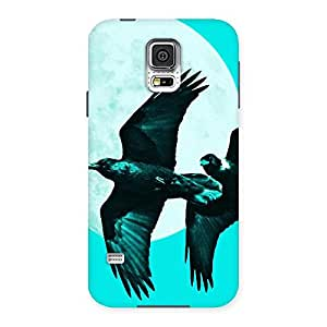 Stylish Raven Cyan Back Case Cover for Samsung Galaxy S5