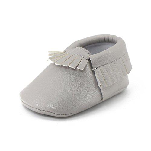 BZLine® Weich Baby Schuhe rutschfeste Baumwolle Infant Neugeborenen Babyschuhe Grau