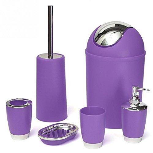 ST @ llion® 6piezas de plástico de baño juego de accesorios de baño, dispensador de loción, vaso, vaso para cepillo de dientes, jabonera, papelera, WC cepillo Set