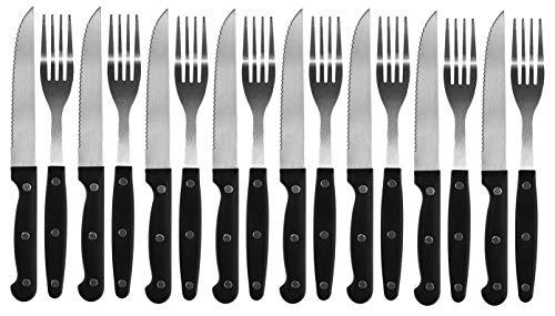 My-goodbuy24 Steakbesteck 16-teiliges Set - Steakgabel Steakmesser für 8 Personen - Pizzabesteck Besteck Grillbesteck - scharf !