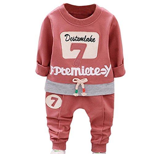 Neugeborenen Bekleidung Set Unisex Baby Longra Baby Hosen & Top Sets für Mädchen Jungen nette Langarmshirts Sweatshirts+Lang Hosen 2018 Kinder Letter Sports Kleidung (70-80CM 6Monate, Red) (Rock Jersey Rüschen)
