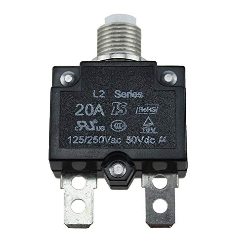 huiwukejiyouxiang 5A/10A/15A/20A/30A Push Button Resettable Thermal Circuit Breaker Panel Mount -