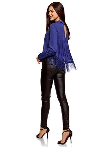 oodji Collection Damen Bluse mit Kragen und Spitzeneinsatz Blau (7500N)