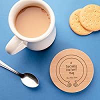 A Socially Distant Hug Personalised Wooden Coaster Send A Hug Self Isolation Gift for Friends Letterbox Gifts for Men Women