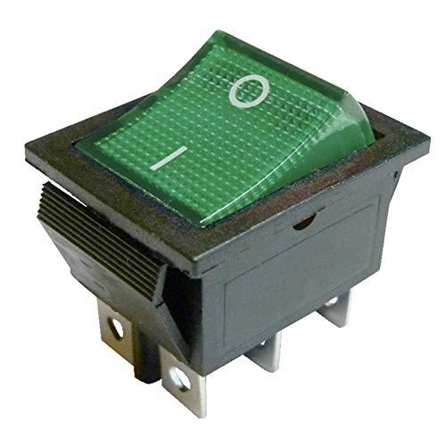 Green Light beleuchteter DPDT Momentary Wippschalter On On Snap In 22 x 30 mm, 6-polig Legend:I-O - Snap In Wippschalter