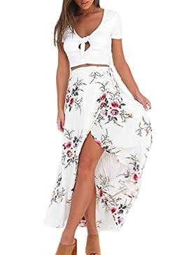 Las Mujeres De Cintura Alta Verano Elegante Boho Maxi Falda De Corte Asimétrico Parte Beachwear