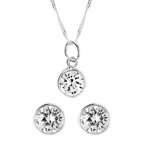 Córdoba Jewels   Conjunto de gargantilla y pendientes en Plata de Ley 925. Diseño Chatón Zirconium