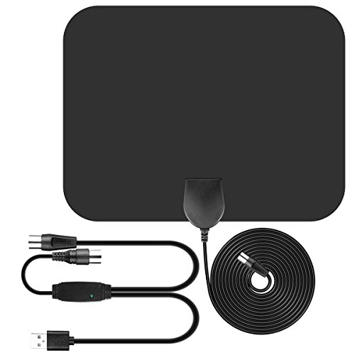 TV Antenna, Parsion 50 miles amplified range indoor TV antenna with signal amplifier and advanced amplifier and 16.5 coaxial cable feet