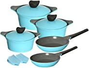 Neoflam Cookware Set Of 10 Pieces, Light Blue