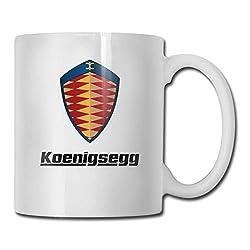 Tassen Koenigsegg Auto Logo Fashion Design lustige Kaffeetasse Tee Cup Geschenk für Fans Mann Frau Freundin weiß
