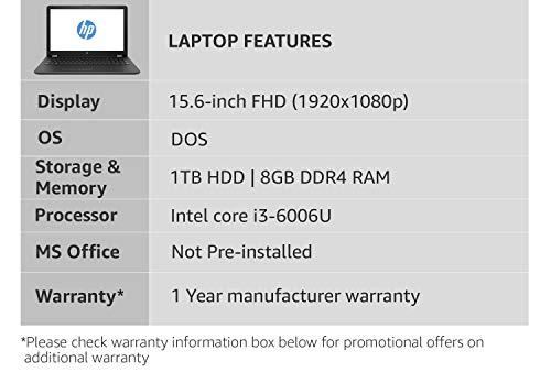 HP 15 Intel Core i3 6th Gen 15.6-inch FHD Laptop (8GB/1TB HDD/DOS/2GB Graphics/Sparkling Black/2.1 Kg), BS658TX