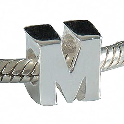 hoobeads en argent sterling 925 Argent Perles Alphabet Lettre A-Z Snack Chaîne Européen Bracelets