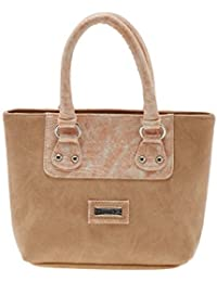 ESBEDA Beige Solid Pu Synthetic Material Handbag For Women