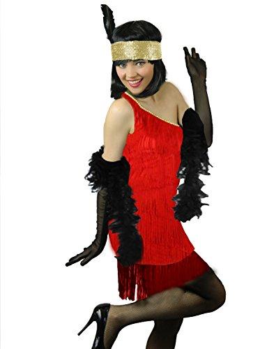 Yummy Bee - Erotische Rote 20er Jahre-Flapper-Charleston + Boa Feder Handschuhe Kostüm Damen Größe 34 - 46 (Rot, (Flapper Kostüme Mardi Gras)