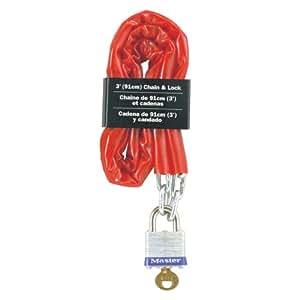 Master Lock 716EURD Chaîne en acier cémenté 4 mm + Cadenas en acier lamine 30 mm