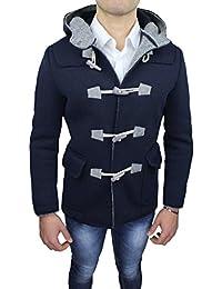 Alessandro Gilles Cappotto Montgomery Uomo Made in Italy Blu Scuro Casual  Invernale e294fc50330