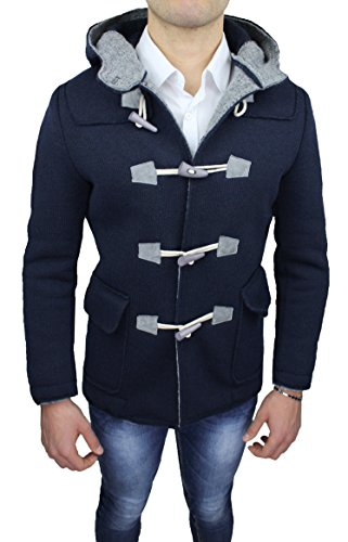 Cappotto Montgomery uomo Alessandro Gilles made in Italy blu scuro casual invernale (M)
