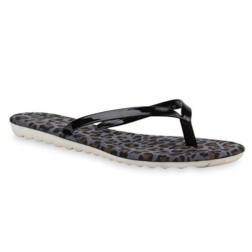 Damen Flats Sandalen Zehentrenner Metallic Strass Beach Schuhe Schwarz Leopard