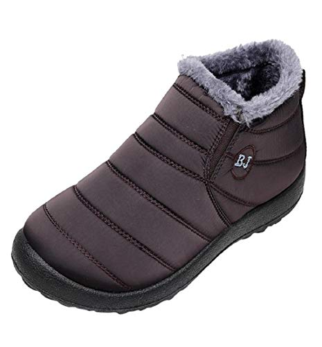 HupoopFrauen Winter Normallack halten warme Stiefeletten Plus Samt Boot Flache Schneeschuhe(Kaffee,43) Damen Warm Ups