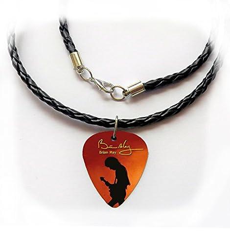 Queen Guitar Pick Plektrum Halskette Twist Leder geflochten 50,8cm Brian May