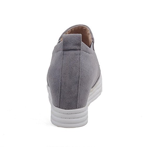 AllhqFashion Damen Rund Zehe Mattglasbirne Rein Ziehen Auf Pumps Schuhe Grau
