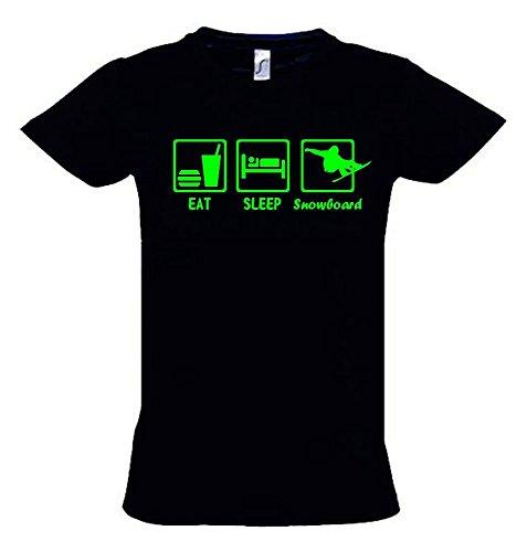 EAT SLEEP SNOWBOARD Kinder T-Shirt schwarz-green, Gr.140cm -