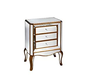 SHABBY CHIC ANTIQUE NEW ITALIAN VENETIAN MIRRORED GLASS FURNITURE 3 DRAWER BEDSIDE TABLE CABINET ** FULL RANGE OF MATCHING FURNITURE IS AVAILABLE ** (9418)