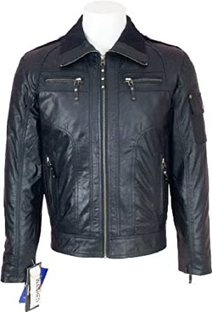 Mens black Real leather Jacket washed #H5 (S)