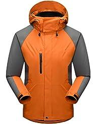 ZKOO Hombre Chaqueta di Esqui con capucha Softshell Abrigo de Nieve 3 en 1 Impermeable Cortaviento di Deportiva Cazadoras al aire libre Ciclismo Montaña