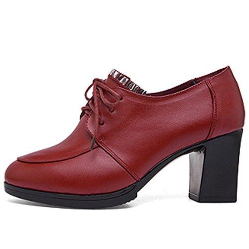 Damen Schuhle Mit Dick Absatz Lederoptik Modische Arbeitsschule Mit Paillette Rot