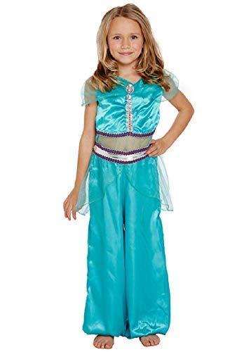 Fancy Me Mädchen Arabische Prinzessin Harem Büchertag Jasmin Kostüm Kleid Outfit 4-12 Jahre - Blau, 10-12 ()