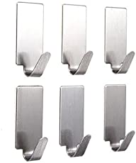 Amigozz Set of 6 Adhesive Steel Hooks for Wall hanging, Kitchen, Bathroom, color : Ash)