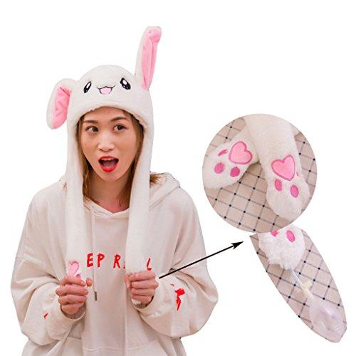 BIEE, Beweglicher Ohr-Kaninchen-Hut, Plüsch Bunny Ohren Stirnband Halloween Tier Ostern Cosplay Kaninchen - Lustige Plüsch-Häschen-Hut-Kappe mit Den ()